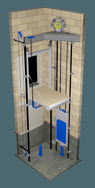 Mô hình loại thang máy tải hàng công nghiệp không phòng máy.